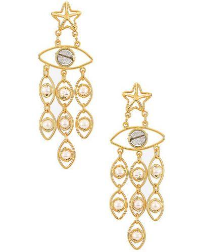 Złote kolczyki perełki Mercedes Salazar