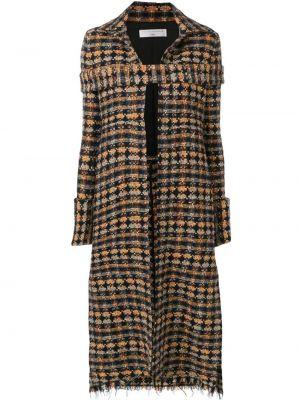 Черное длинное пальто с капюшоном твидовое Victoria Beckham
