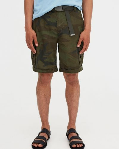 Зеленые шорты с карманами Pull & Bear