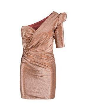 Хлопковое асимметричное розовое коктейльное платье Elisabetta Franchi