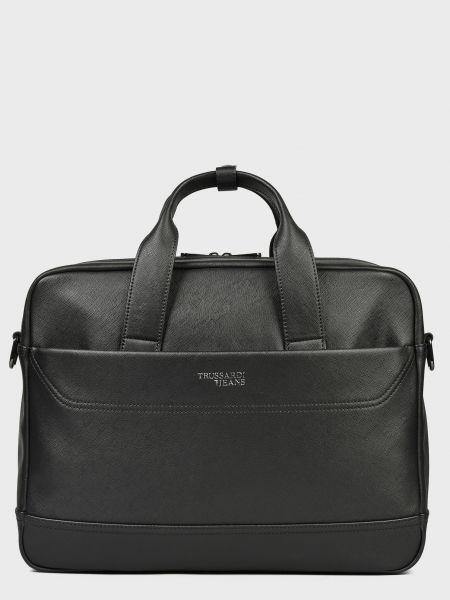 Черная кожаная сумка на молнии Trussardi Jeans