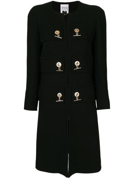 Золотистое с рукавами черное шерстяное длинное пальто Edward Achour Paris