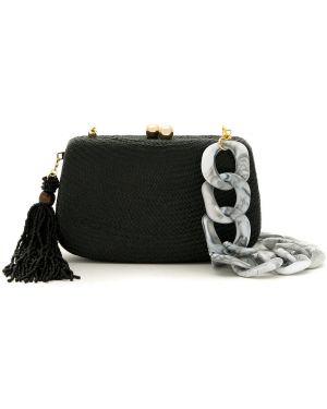 Черная соломенная сумка на цепочке Serpui