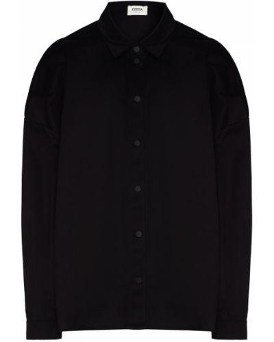 Хлопковая с рукавами черная рубашка Izeta