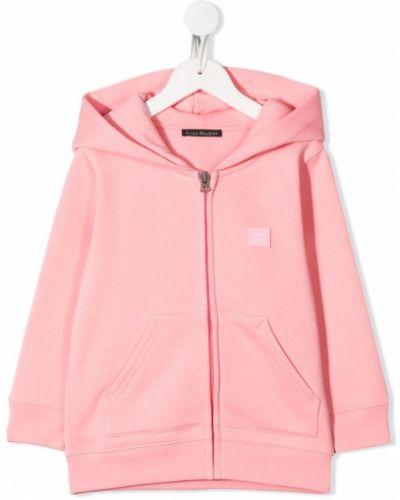 Różowa bluza długa z kapturem z długimi rękawami Acne Studios Kids