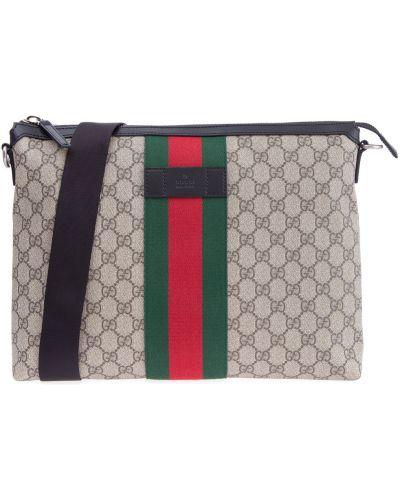 Кожаная сумка мессенджер с отделениями Gucci