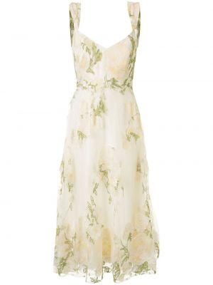 Тонкое летнее платье с V-образным вырезом на молнии без рукавов Marchesa Notte