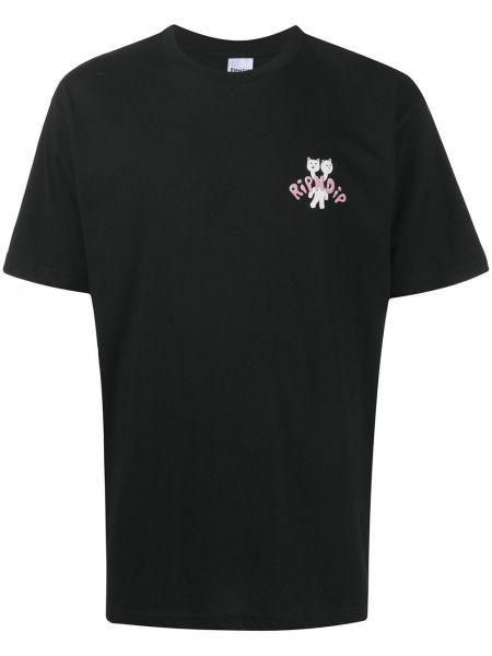 Bawełna prosto czarny koszula z krótkim rękawem krótkie rękawy Ripndip