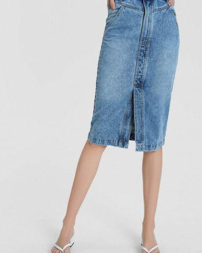 Синяя джинсовая юбка O'stin