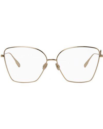 Очки для зрения прозрачные квадратные золотые Dior