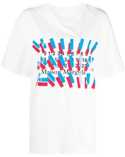 Хлопковая белая футболка с вырезом Maison Margiela