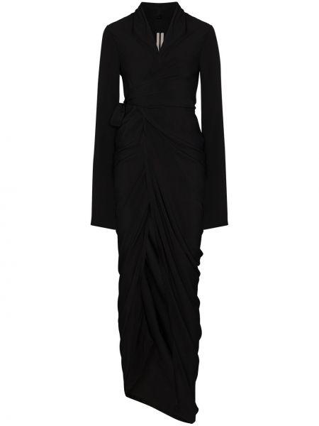 Jedwab czarny długo sukienka z draperią z długimi rękawami Rick Owens