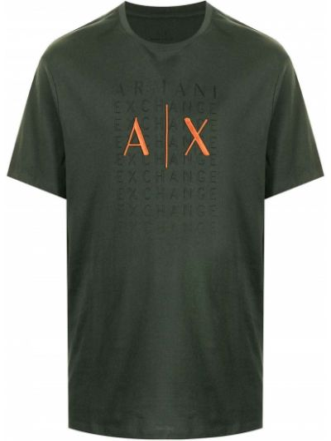 Зеленая футболка короткая Armani Exchange