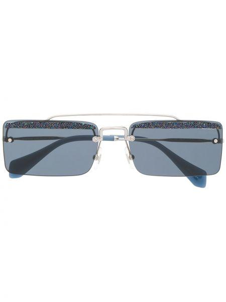 Прямые муслиновые солнцезащитные очки квадратные хаки Miu Miu Eyewear
