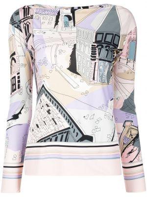 Розовая шелковая с рукавами блузка Emilio Pucci
