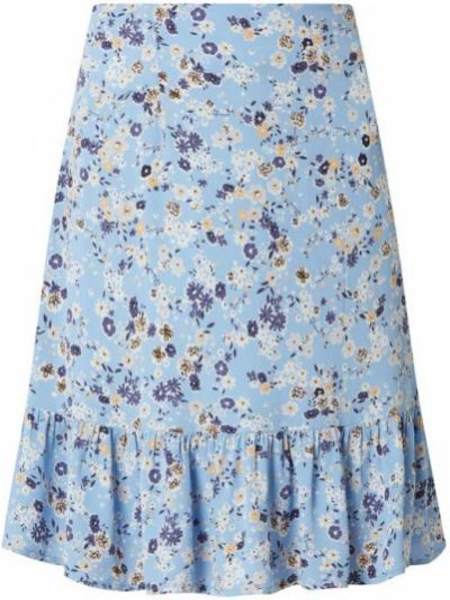 Spódniczka mini w kwiaty - niebieska Pieces