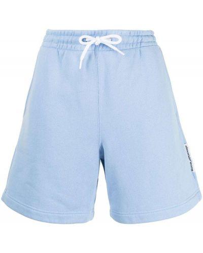 Хлопковые спортивные шорты - синие Alexander Wang