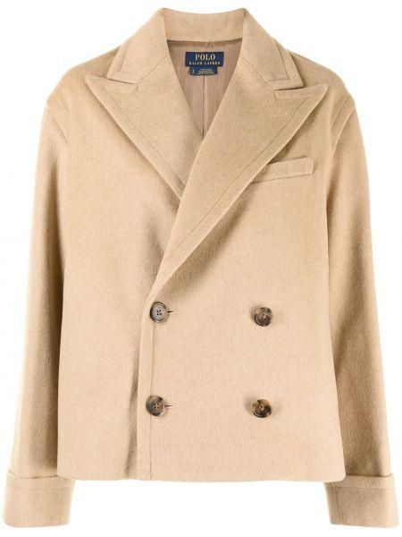Коричневое длинное пальто Polo Ralph Lauren