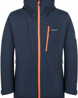 Прямая синяя куртка с капюшоном мембранная на молнии Merrell