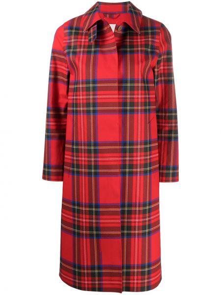 Красное пальто классическое в клетку с воротником Mackintosh