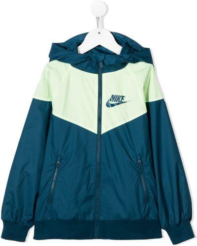 С рукавами синяя спортивная куртка с капюшоном Nike Kids