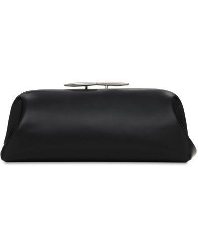 Черный клатч из натуральной кожи с карманами Little Liffner