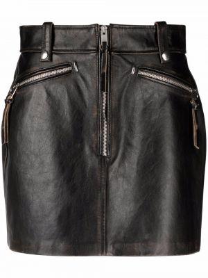 Кожаная юбка мини - черная Diesel