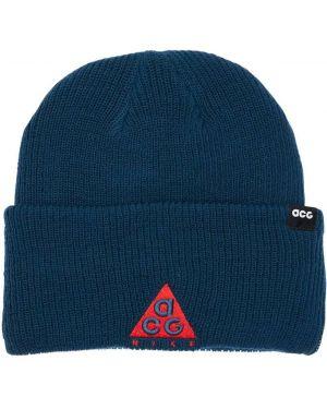 Niebieski czapka beanie z haftem Nike Acg