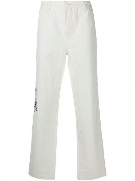 Prosto biały spodnie o prostym kroju z haftem z kieszeniami Ripndip