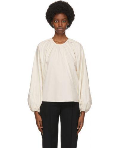 Белая блузка с длинным рукавом с воротником с рукавом реглан с манжетами Studio Nicholson