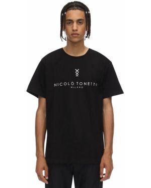 Czarny t-shirt bawełniany Nicolò Tonetto Milano
