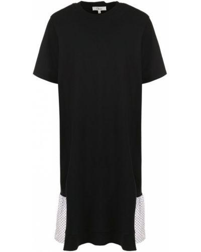 Платье мини в горошек с оборками Clu