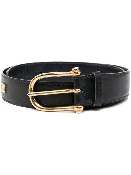 Золотистый кожаный синий ремень с заклепками Céline Pre-owned