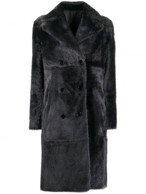 Черное кожаное длинное пальто двубортное Yves Salomon