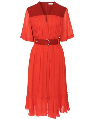 Платье миди с V-образным вырезом с поясом Chloé