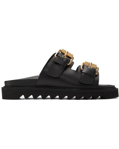 Czarne złote sandały z klamrą Moschino