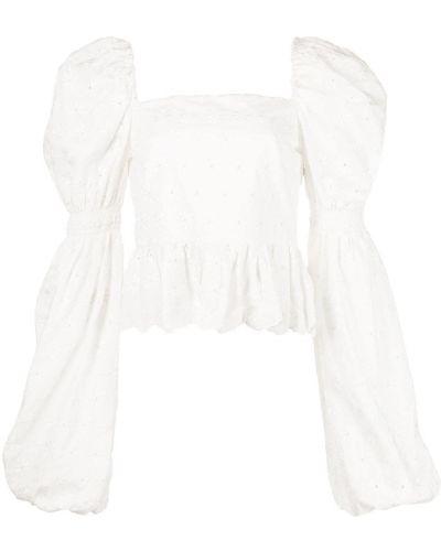 Белая блузка с вышивкой с вырезом Caroline Constas