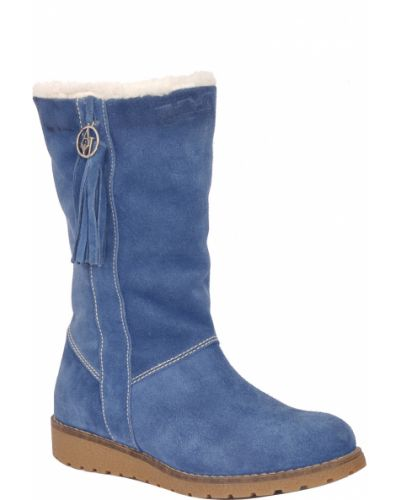 Полусапожки замшевые синий Armani Jeans
