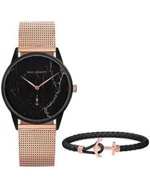 Часы водонепроницаемые с кожаным ремешком с черным циферблатом Paul Hewitt
