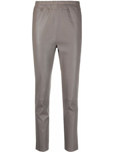 Серые кожаные укороченные брюки с поясом Arma