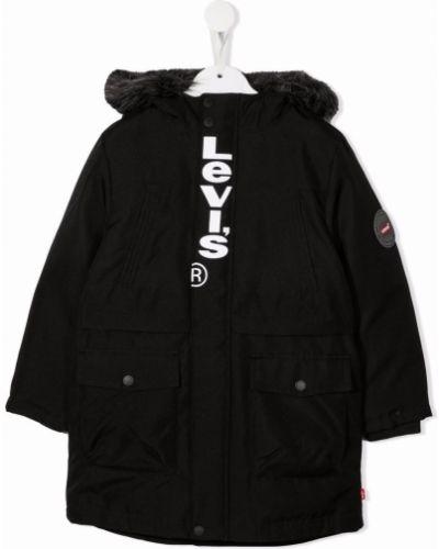 Płaszcz puchowy z kapturem - czarny Levis Kids