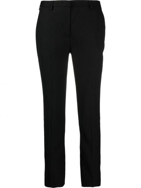 Черные укороченные брюки узкого кроя с потайной застежкой Lardini