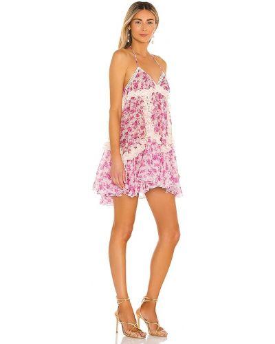 Różowa sukienka mini bawełniana z printem Chio
