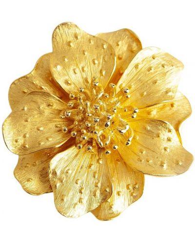 Żółta broszka w kwiaty Kenneth Jay Lane Vintage