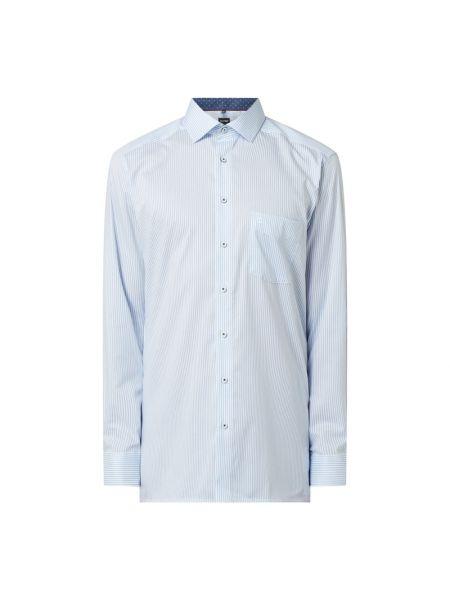 Niebieska koszula bawełniana w paski Olymp