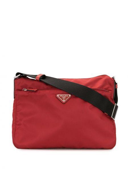 Красная нейлоновая сумка через плечо на молнии с карманами Prada Pre-owned