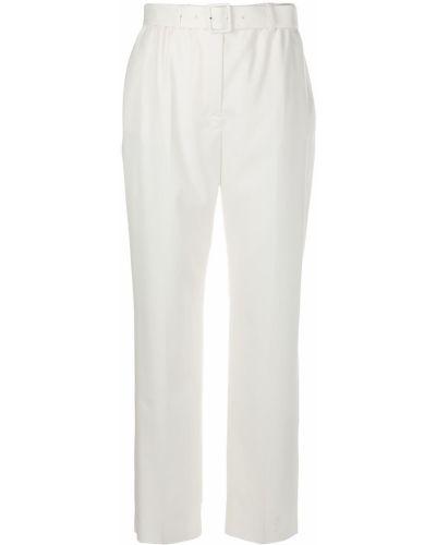 Белые шерстяные брюки с поясом Agnona