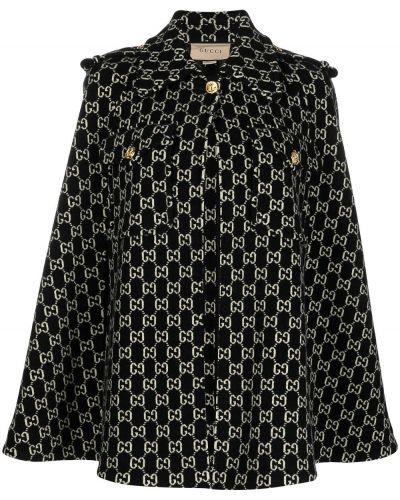 Шерстяной черный кейп с карманами Gucci