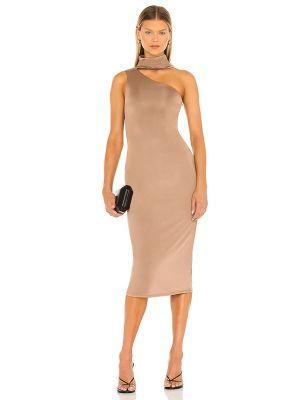 Brązowa sukienka midi Nbd