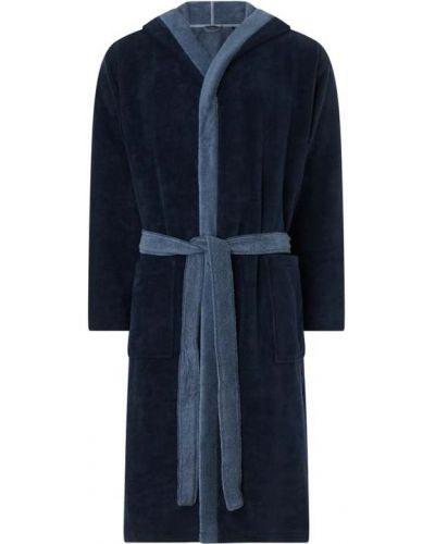 Niebieski szlafrok bawełniany z wiązaniami Schiesser